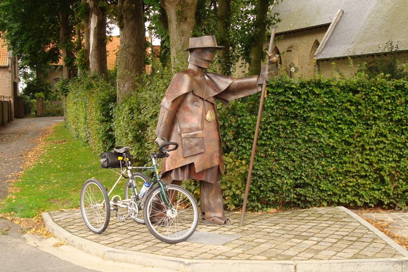 September. Statue of a Pilgrim in Saint Pieters-Kapelle, Belgium Photo by Ian Charity