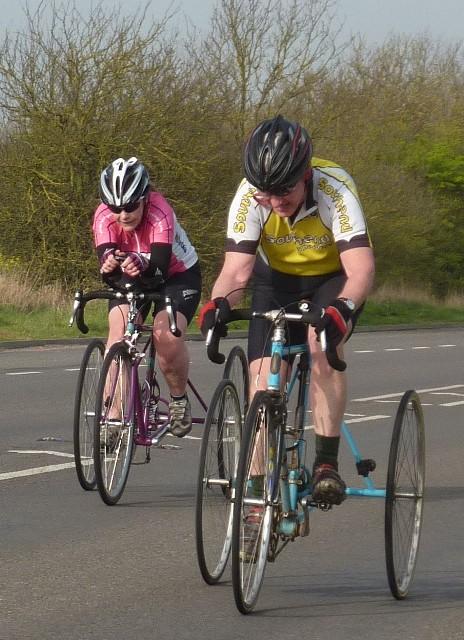 Jane catching Ian at the finish