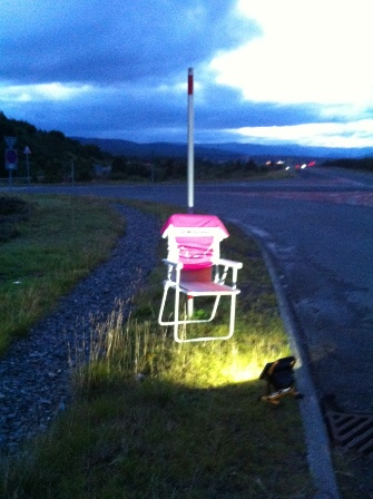 A chair beckoning for the Dalwhinnie Cargo Cult.