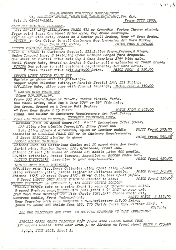 Rogers Frame Price List 1984 Page 1