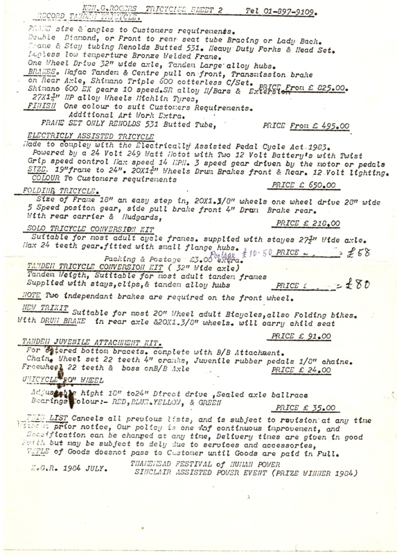 Rogers Frame Price List 1984 Page 2